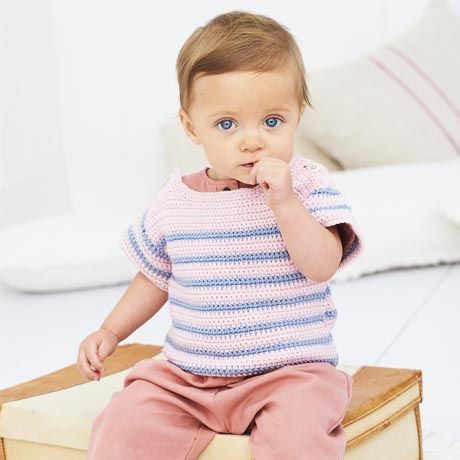SCP Bambino DK Pattern 9608 Crochet Striped Top and Sweater