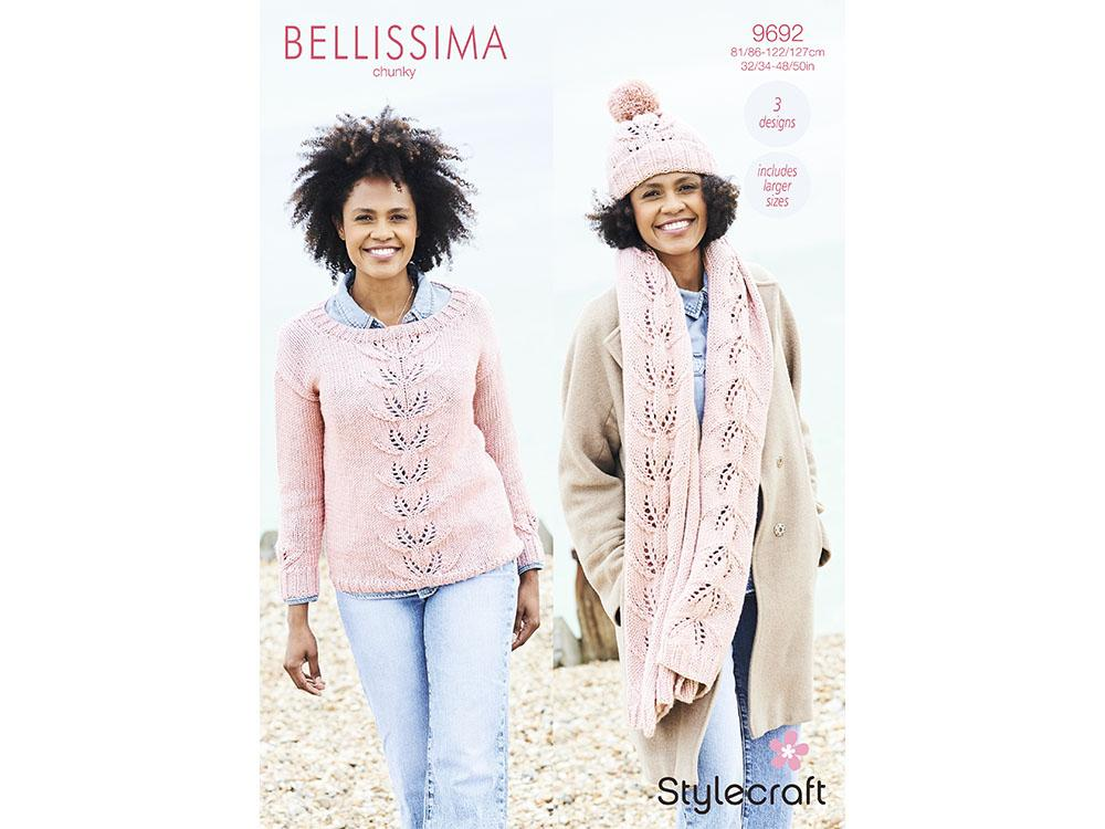 SCP Bellissima Chunky Pattern 9692 Sweater, Hat and Scarf