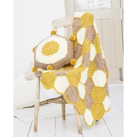SCP Bellissima DK Pattern 9614 Honeycomb Blanket and Cushion
